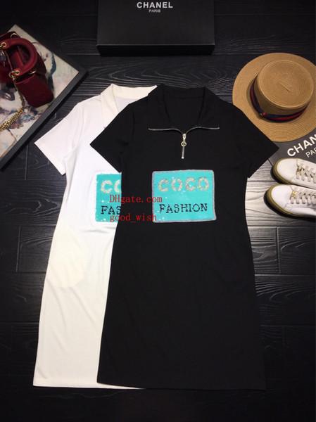 Sommerkleidfrauen kleidet 2019 Art und Weisemarkenrevers Frontreißverschlusskleid Baumwollkomfortbuchstabe Normallackdamen beiläufige Kleidfrauen kleidet