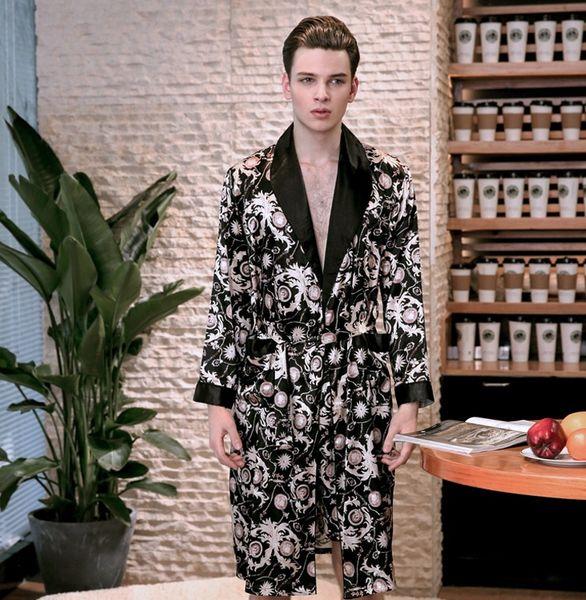 Acheter 2019 Printemps De Luxe Soie Robe De Soie Homme Satin à Manches Longues Peignoir Kimono Maison Vêtements Dormir Peignoir De 18 97 Du Tangonel