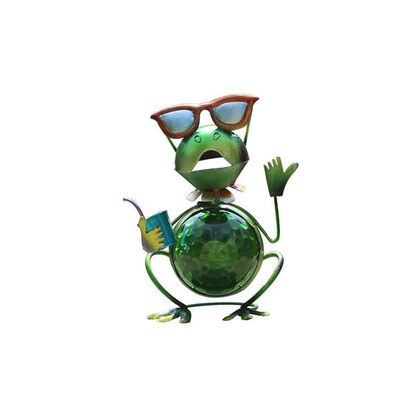 Solar-LED-Gartenleuchten im Freien, Solar-Metall-Kunst-Frosch-Sieben-Farben-ändernde Glaskugel-Statuen LED-Lichter, Outdoor-Gartenfiguren