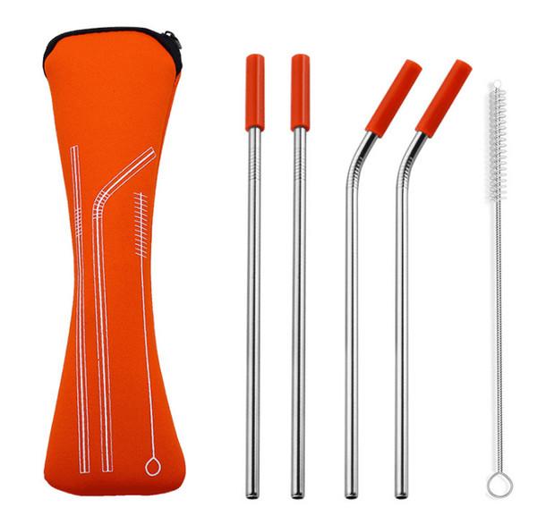 Ensembles de pailles d'acier inoxydable avec la paille colorée en métal de sac de poche avec les outils réutilisables de barre de paille de jus de bout de silicone