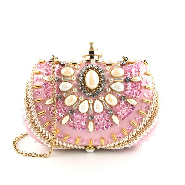 Mini evening purses gems pearls bridal pink clutches