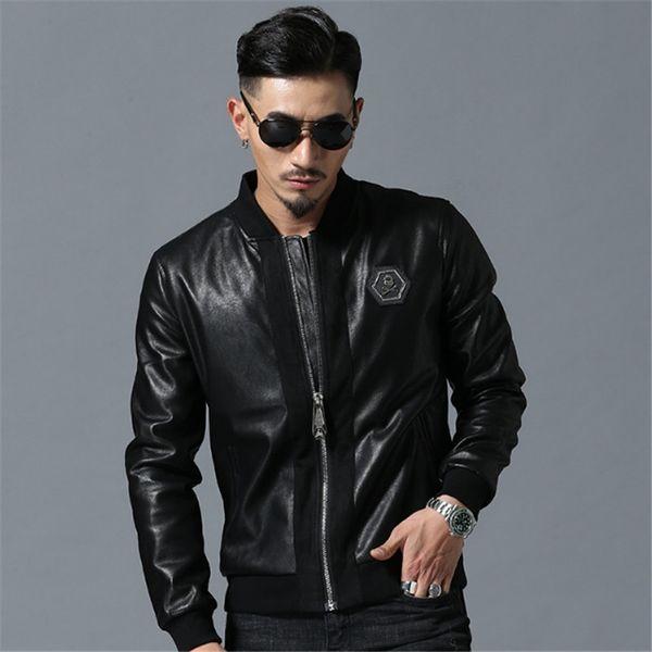 Homens High Street Estilo Stand-Neck Sudaderas Hombre Manga Rib Streetwear Mens jaquetas e casacos de strass crânio PU jaquetas