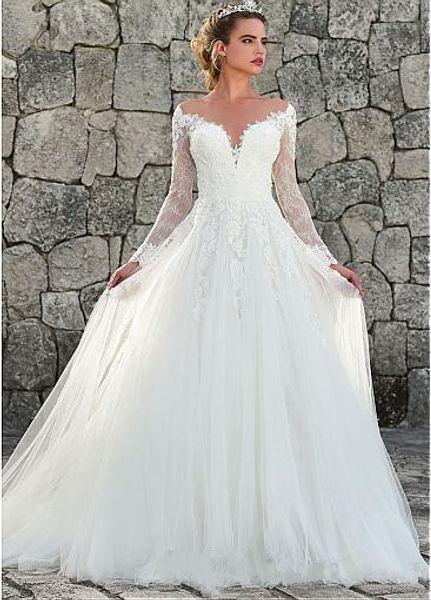 Marvelous A-Line Tulle Gowns Illusion Neckline Wedding Dress Long Sleeve Custom Made Appliques Sexy Back Vestios De Novia Bridal Dress