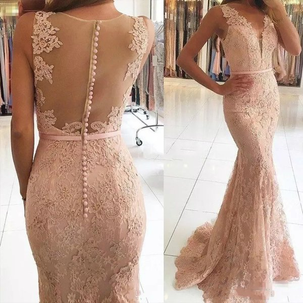 Sexy V-Neck Evening Dresses 2019 Wear Illusion Lace Appliques Beaded Blush Pink Mermaid Long Sheer Back Formal Party Dress Prom Gowns China