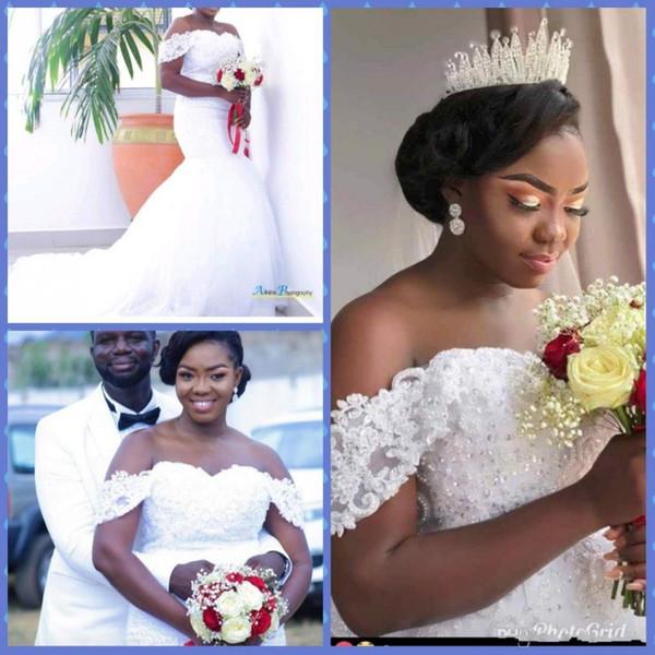 Vintage African Off the Shoulder Mermaid Wedding Dresses 2019 high Quality Beaded Lace Appliqued Bridal Gowns Tulle Vestido De Novia