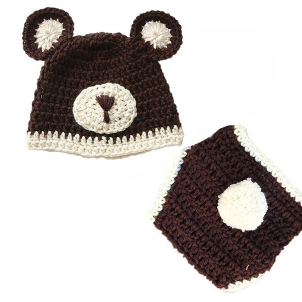 Lovely Crochet Baby Bear Costume,Handmade Knit Baby Boy Girl Bear Beanie Hat with Ears,Diaper Cover Set,Infant Newborn Photo Prop
