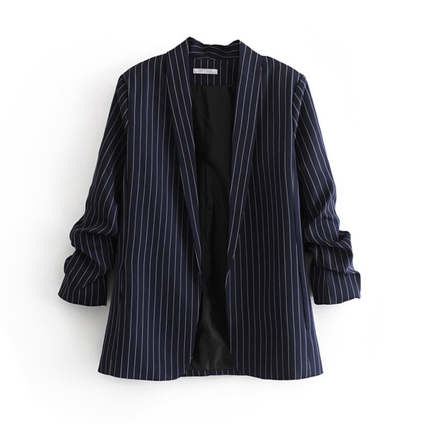 Navy Tweed Damen Plissee Ärmel Blazer Frühling Damen Gestreifte Blaue Blazer Jacken Büro Damen Chic Slim Mäntel Anzüge Tops Femme # 408733
