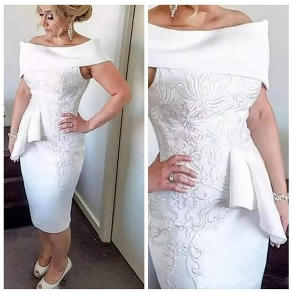 Stunning Embroidery Mother of Bride Groom Dress Elegant Sheath Off The Shoulder Knee Length Prom Cocktail Evening Gowns