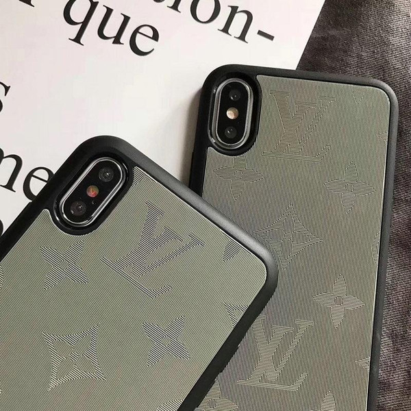 English letter V mobile phone case cover for iphone XS MAX XR X 7 7plus 8 8plus 6 6plus brand design TPU soft side + hard back cover