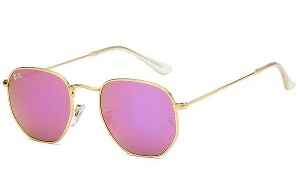 2019 Diseñador de la marca 3548 Mujeres uv400 Gafas de sol Lentes planas de lujo Gafas de sol Hombres Retro flash Hexágono Marco de metal TOP gafas geniales