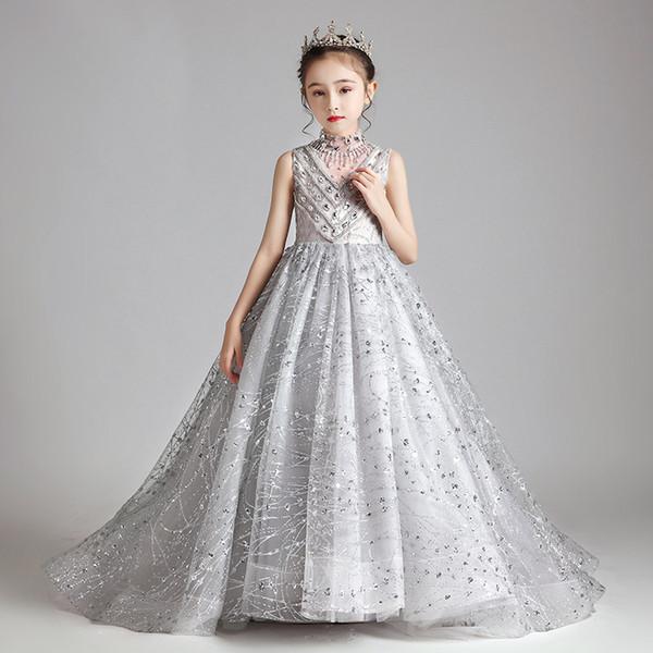 Oldukça Gümüş Fildişi Altın Dantel Kollu Boncuk Kız Yarışması Elbise Çiçek Kız Elbise Doğum Elbiseler Custom Made Boyut 2-14 YPN667