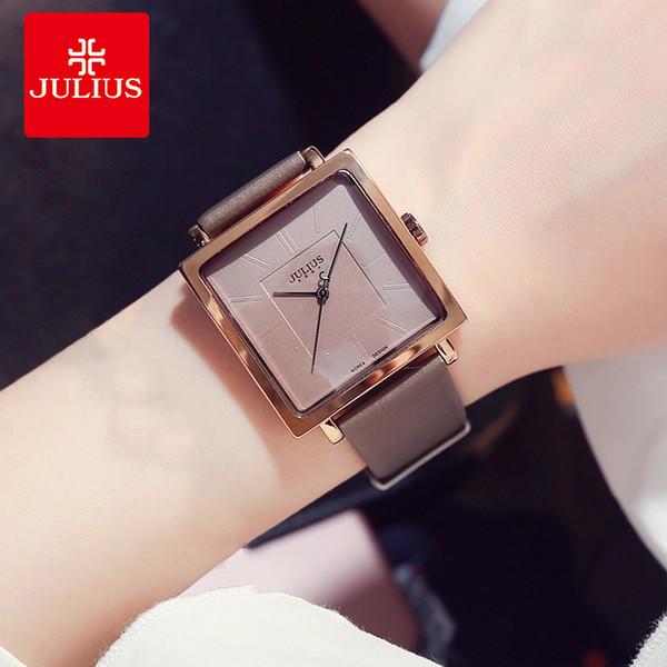 Julius marca simples praça grande relógio de couro de discagem mulher do vintage à prova d 'água vestido de quartzo relógios de pulso lady montre femme presentes