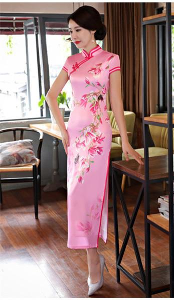 2019 rosa farbe großhandel kurzarm langes kleid Qipao Kleid vintage chinesischen stil cheongsam chinesischen