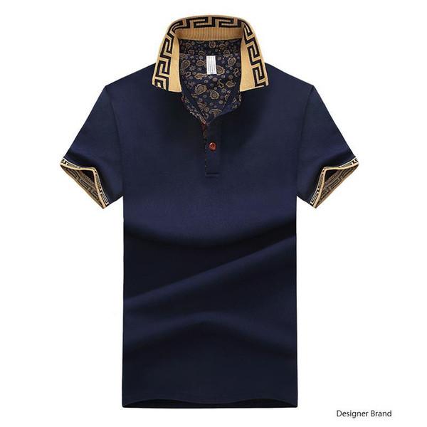 Sıcak Satış Gömlek Lüks Tasarım Erkek Yaz Turn-Down Yaka Kısa Kollu Pamuklu Gömlek Erkekler Üst