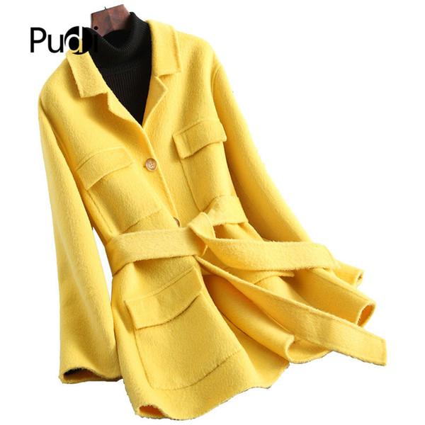 Pudi A20213 2019 nuove donne di modo giacca di lana signora lunga di stile di svago della cinghia Autunno / cappotto di lana invernale