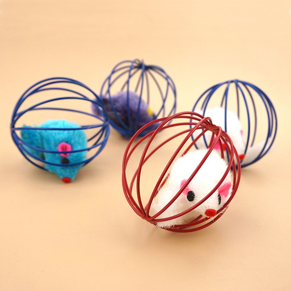 Pet Cat Toy Cage Mouse 6cm Catching Ball Funny Cat Simulation Mouse Cat Toy Hot Sale