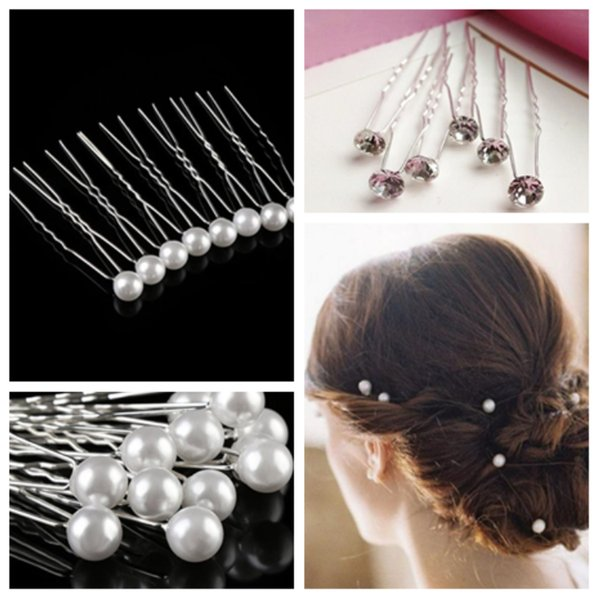 New girl's white pearl water drill hair clip U - shaped hair fork wedding decoration, bride decoration, hairs tools T2C5041