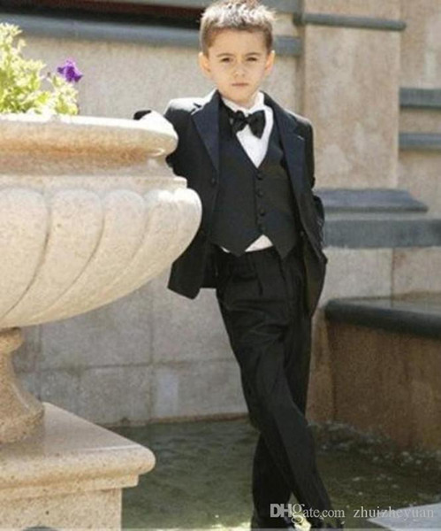 Three Pieces Black Boy's Formal Occasion Tuxedos Little Men Suits Cheap Kids Wedding Party Tuxedos Boy's Formal Suit (Jacket+Tie+p
