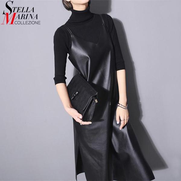 Yeni 2019 Kadınlar Uzun Siyah Deri Elbise Kolsuz Spagetti Sapanlar V Boyun Taraf Bölünmüş Seksi Nigh Parti Kulübü Pu Elbise Stil 746 Y19041801
