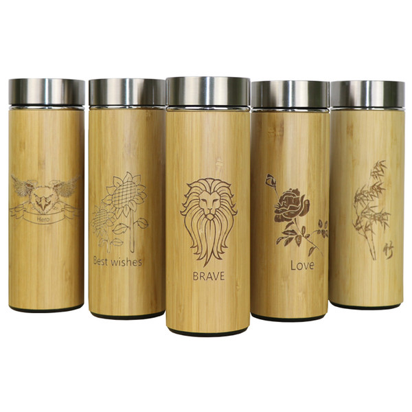 400ml Bamboo Travel Thermos Bottles Stainless Steel Water Bottle Vacuum Flasks Insulated Termos Mug Tea Bardak Cup Customized Q190430