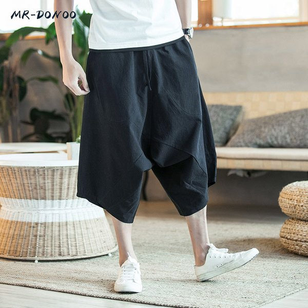 MRDONOO Men Pants Men's Wide Crotch Harem Pants Loose Large Cropped Trousers Wide-legged Bloomers Chinese Style Flaxen Baggy Y19042301