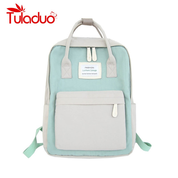 Women Canvas Backpacks Candy Color Waterproof School Bags for Teenagers Girls Big Laptop Backpack Patchwork Kanken Backpack New #32989