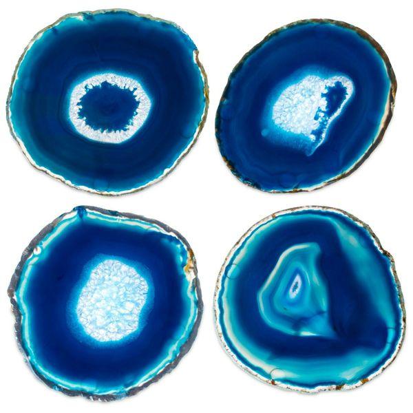 Natural Blue Agate Geode Slice adiabatic Cup Mat Crystal Plate Jade Carnelian Coaster Mineral Specimen Decoration Gift