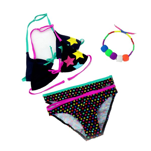 2019 New Summer Bathing Suit Girls Split Two-pieces Swimwear, Children Cute Star Pattern Split Bikini Girls Swimsuit Wholesale S19712
