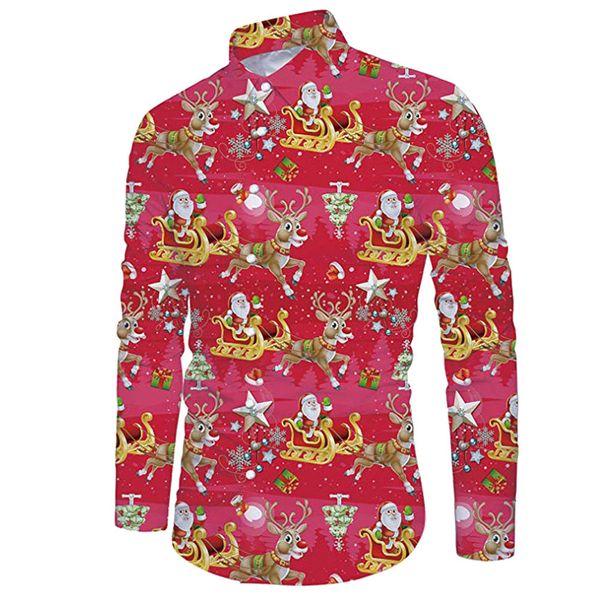 Christmas Hawaiian Shirt.2019 Men Casual Snowflakes Santa Candy Printed Christmas Men Hawaiian Shirt Long Sleeve Floral Print Mens Dress Formal Shirts G8 From Goodly3128