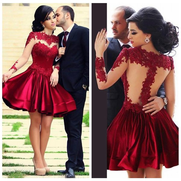 Classic Red Long Sleeve Short Evening Gowns Applique Decoration Evening Party Prom Dresses Satin Special Occasion Dress