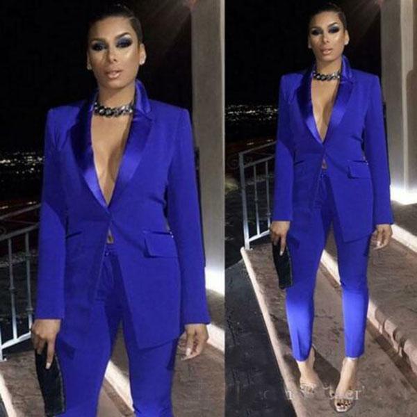 Seksi Kraliyet Mavi Bayanlar Parti İki adet Kadınlar Blazer Pantolon Örgün Akşam Parti Giyim Büro İş Giyim Takımları