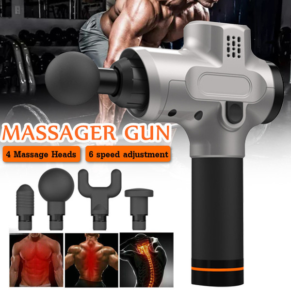 6 Speed Electronic Therapy Body Massage Guns 24v Brushless Led Massage Guns Body Muscles Relaxing Relief Pains With 4 Heads T190714