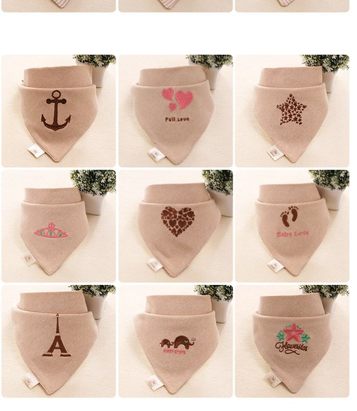 Colored cotton baby triangular scarf baby saliva towel embroidery double-layer pure cotton saliva pocket without fluorescent agent adjustabl