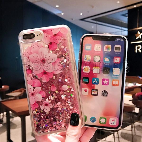 Quicksand Durumda Lüks Sıvı Parlak Bling Çiçek Glitter Durumda Iphone Için XS Max XR XS X S10 S10P Note9 8