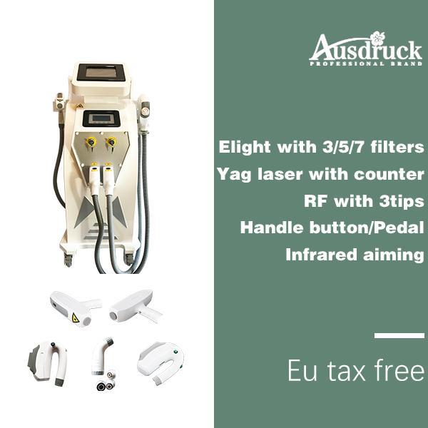 Expédition UK 3-1 ELight IPL + RF + YAG LASER machine de beauté pour l'épilation Détatouage Détatouage de La Peau Traitement De L'acné