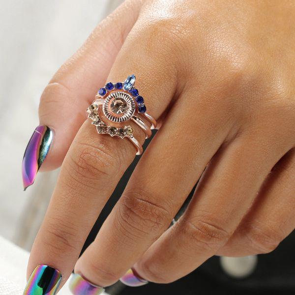 Романтический красочные горный хрусталь Кристалл роялти Корона кольца набор для женщин кулака Midi кольца ювелирные изделия аксессуары панк кольца