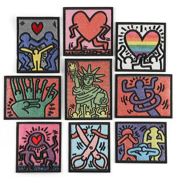 Keith Haring Pintura Bordado Patches Moderno Dos Desenhos Animados Coração Costurar Ferro Em Applique Remendo Do Emblema Do Remendo Para Crianças Roupas Jaqueta Saco de Vestuário