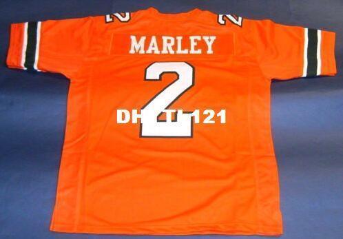 Пользовательские мужчины #2 Рохан марли Университет Майами ураганы марли белый оранжевый колледж Джерси размер s-4XL или обычай любое имя или номер Джерси