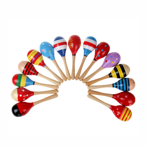 top popular Baby Toys Kids Wooden Rattle Maracas Cabasa Music Instrument Sand Hammer Orff Instrument Maracas Infant toys 0601862 2019