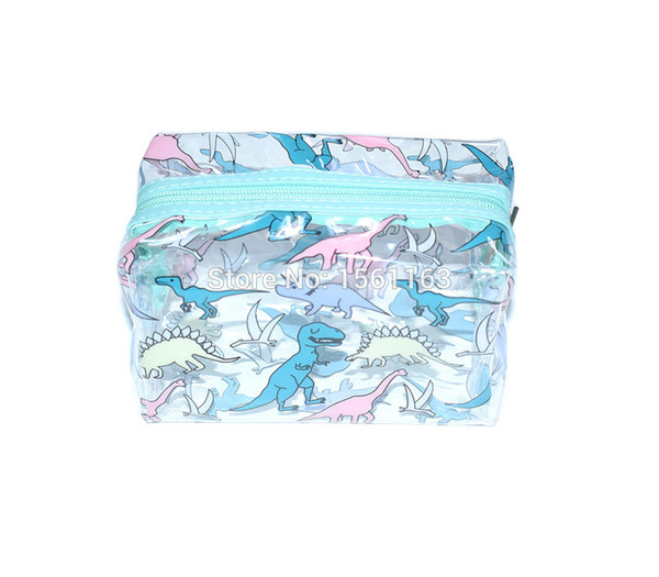 2019 Cosmetic Organizer Bag Storage Case Travel Makeup PVC Pouch Cute Dinosaur Cosmetic Bag Cases For Women Girls