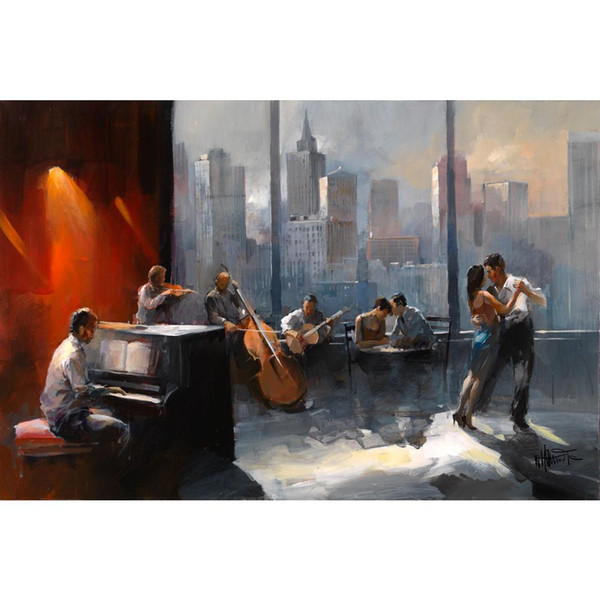Hand painted beautiful oil paintings Musicroom with view on skyline city scence artwork for living room decor