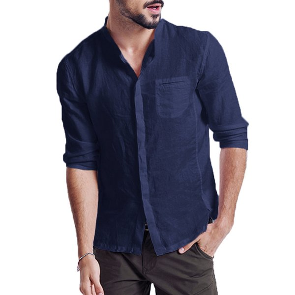 Hot Sale Summer New Style Chinese Vintage Style Men Shirt Turn-Down Collar Long Sleeve Solid Linen Shirt Plus Size Clothing 2XL