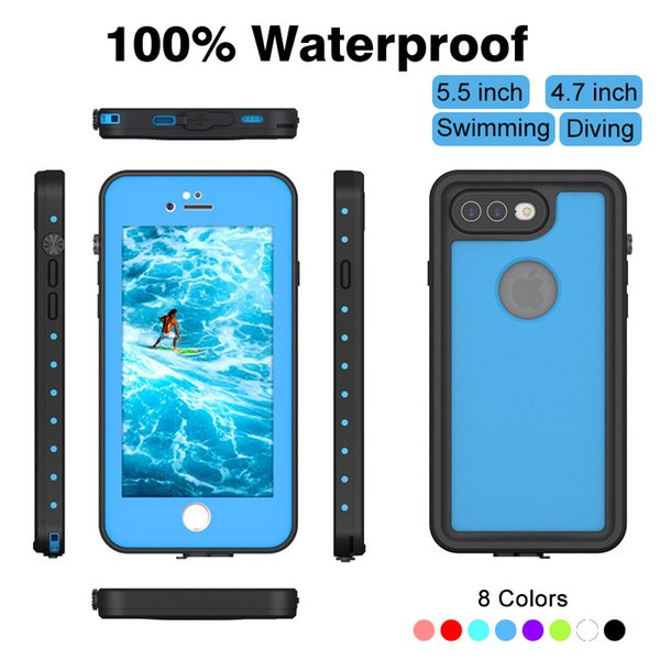 100% Waterproof Military level For iPhone 8 Plus Case 8plus 7plus For iPhone 7 Case Screen Protector Diving Original Phone Protection Cover