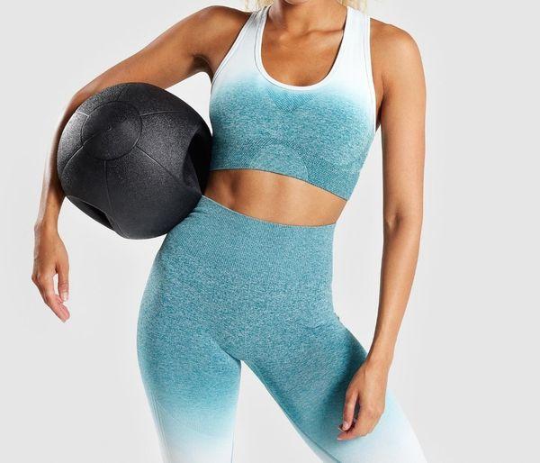Women 2 Pcs Yoga Set Gym Clothing Ombre Sports Bra Seamless Leggings Workout Sport Suit Women Long Sleeve Fitness Set Y190508