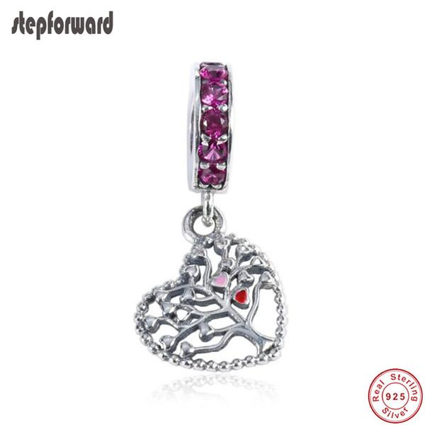 Popüler Kaliteli Aşk Kalp Tema 925 Gerçek Gümüş Asansör Ağacı Kalp Asılı Charm Fit Bilezik