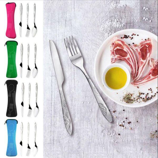 Portable 3Pcs/set Stainless Steel Tableware Dinnerware Camping Fork Spoon Knife with bag Tableware set LJJK1627