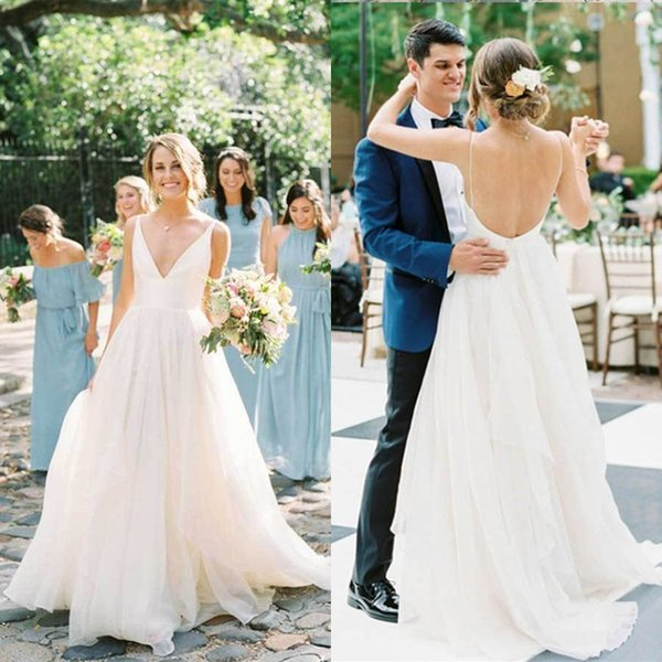 Sexy Open Back Spaghetti Wedding Dresses A Line Long New 2019 Simple Straps Bridal Gowns Cheap Chiffon Bohemian Style Beach Boho Bride Dress