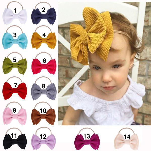 Bowknot varas de cabelo bebê menina grande arco headband pura cor sólida crianças nylon hairband crianças acessórios para o cabelo adorável