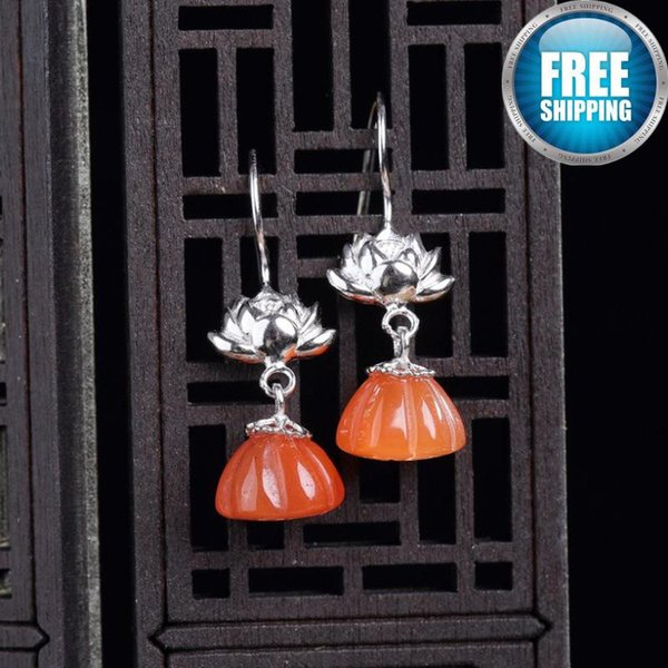 925 Silver Natural South Red Agate Seedpod Of The Lotus Eardrop Nation Wind Temperament Grace Bohemian Boho Rhinestone Earrings Dangle
