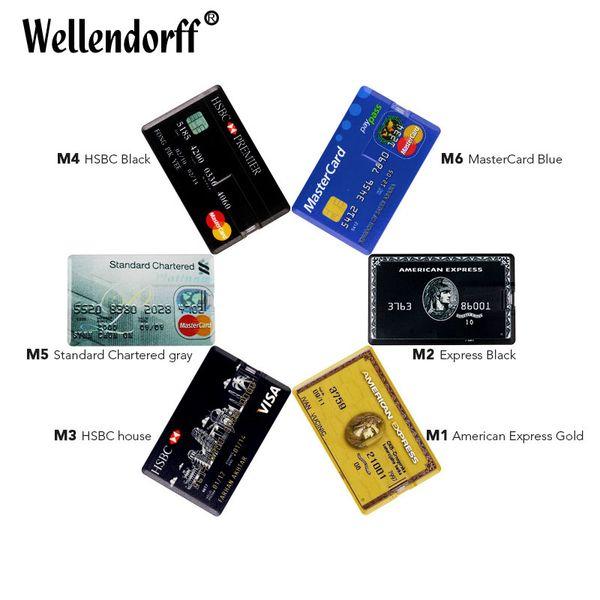 Tarjeta de crédito Tarjetas de visa maestra HSBC American Express USB Flash Drive pen 64GB 32G 8G 16G usb tarjeta bancaria Memory Sticks drive pen